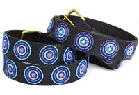 Beaded Belts 1 1/2 inch wide - Disc - Blue Brown Circles