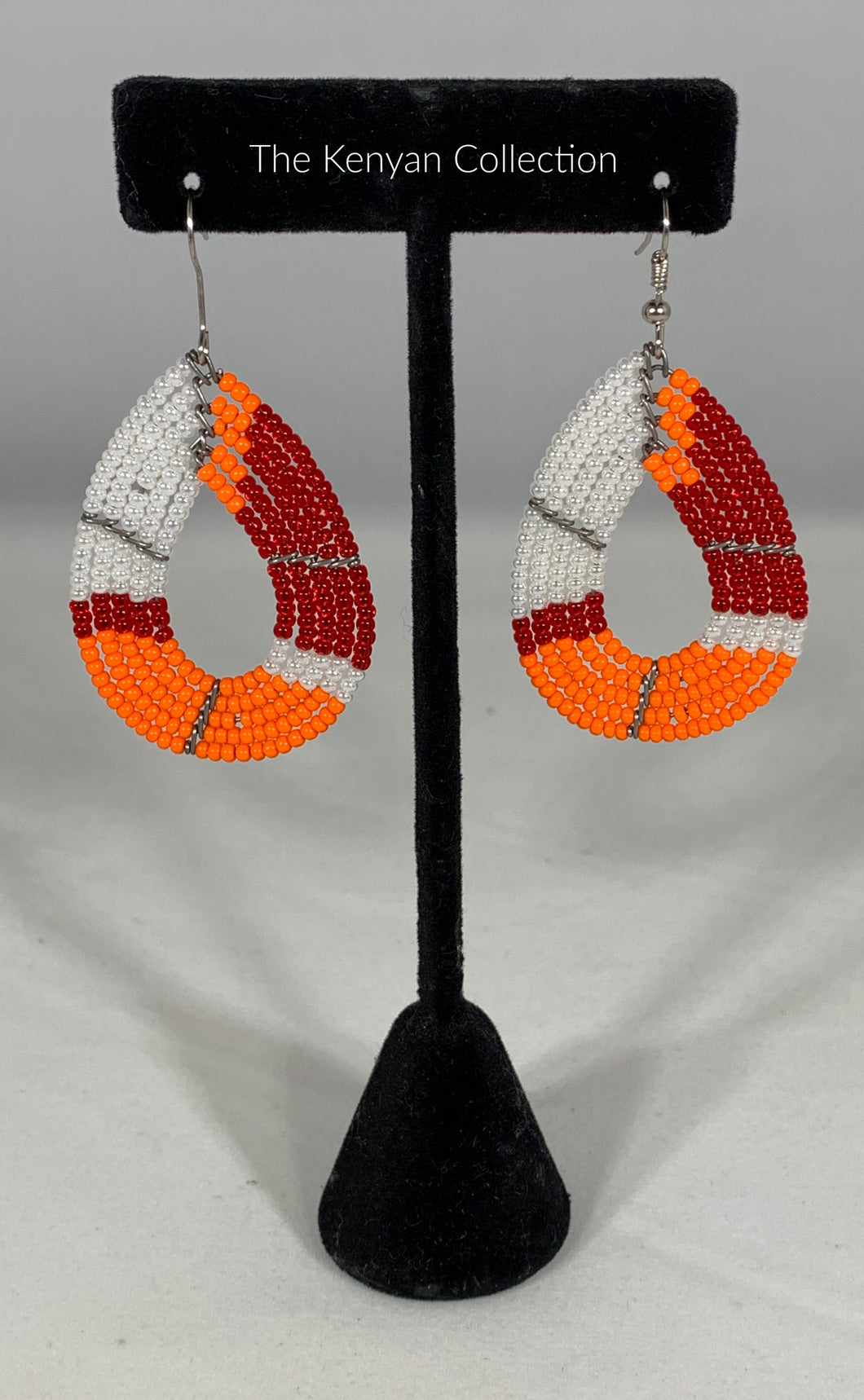Earrings in Peacock Orange and Reds