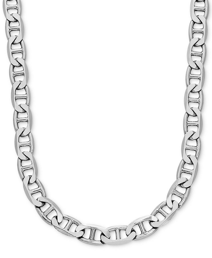 18k White Gold Flat Mariner Link Chain