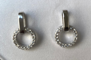 Circle & Bar Silver Set - Earrings Studs and Necklace with Pendant