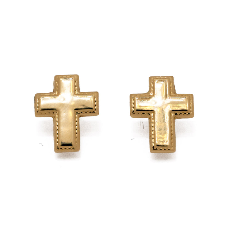 "18k Solid Yellow ""Holy Cross"" Studs"