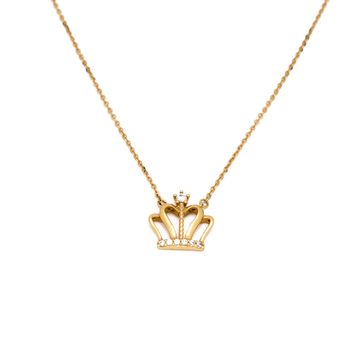 "18k Solid Yellow Gold ""Solar Queen Crown"" Necklace"
