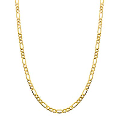 18k Solid Gold Figaro Chain Necklace