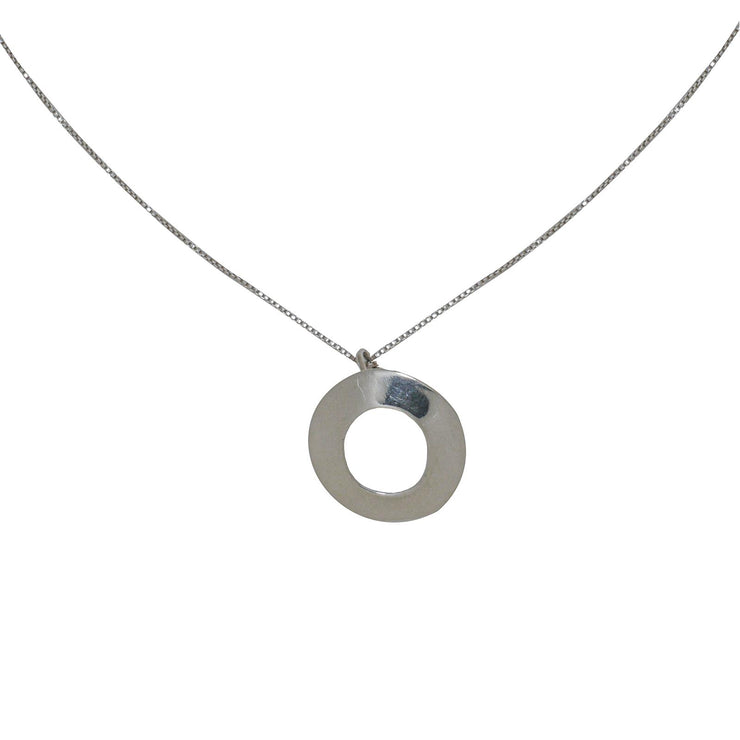 Flat Circles Silver Necklace