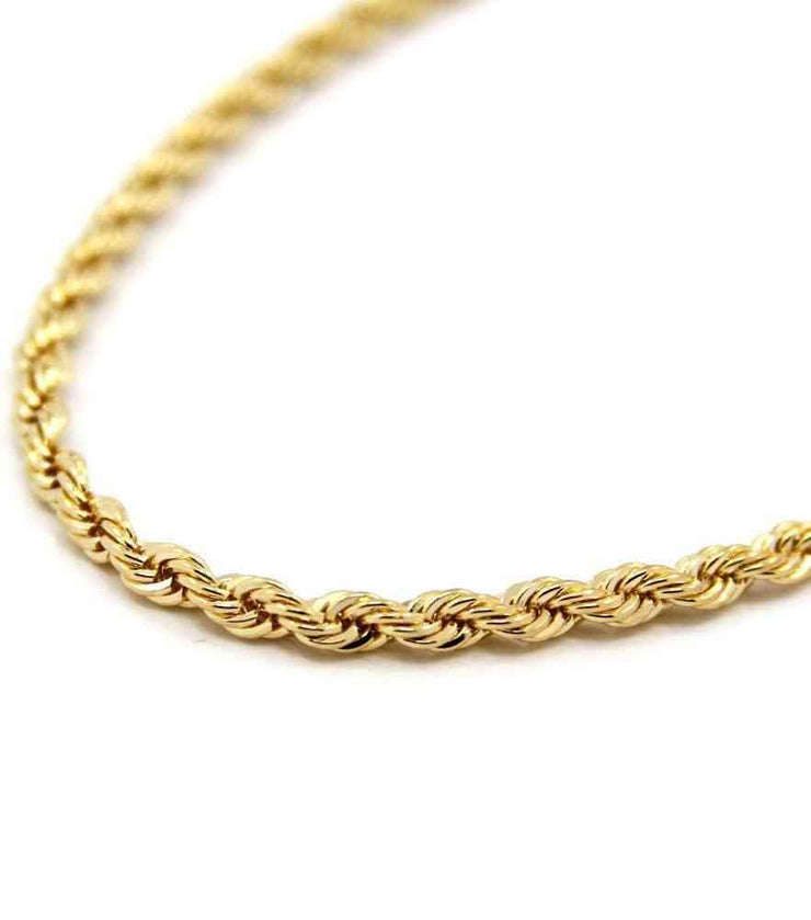 18k Solid Gold Rope Chain Necklace