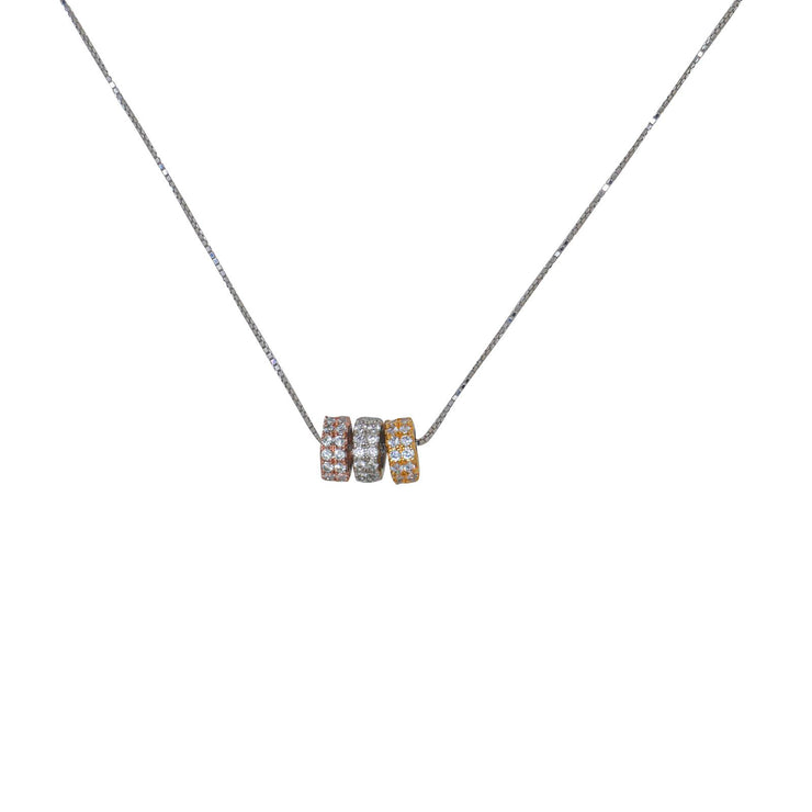Three Wheels Silver Necklace