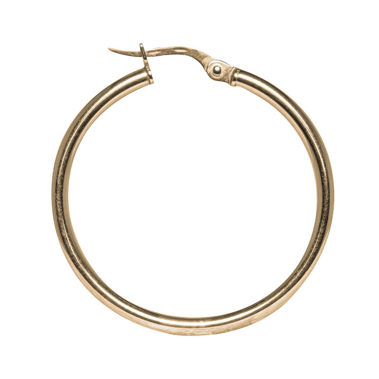 18k Gold Plain Hoops