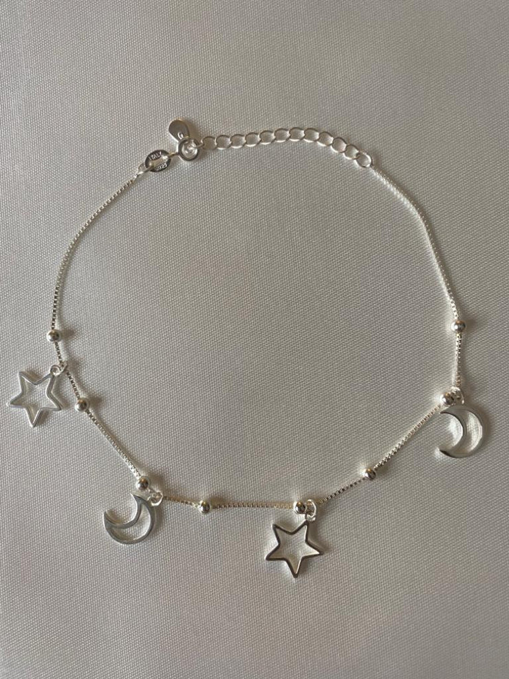 Silver Moons and Stars Charm Anklet