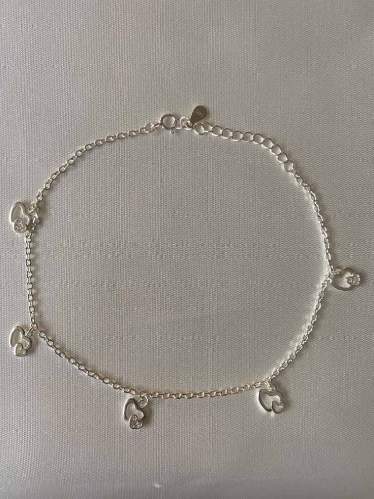 Silver Double Hearts & Zircons Charm Anklet