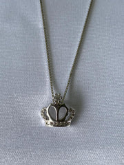 18K White Gold Plated Crown Necklace
