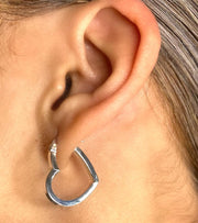 Silver Heart Cutout Hoops