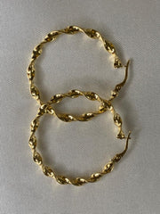 18K Gold Twisted Hoops
