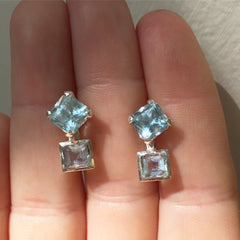 aquamarine earrings in silver