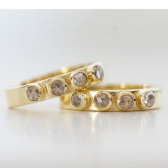 yellow gold engagement rings with rose cut white diamonds