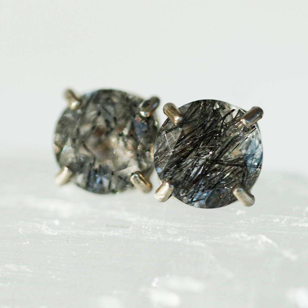 Black Tourmaline silver earrings