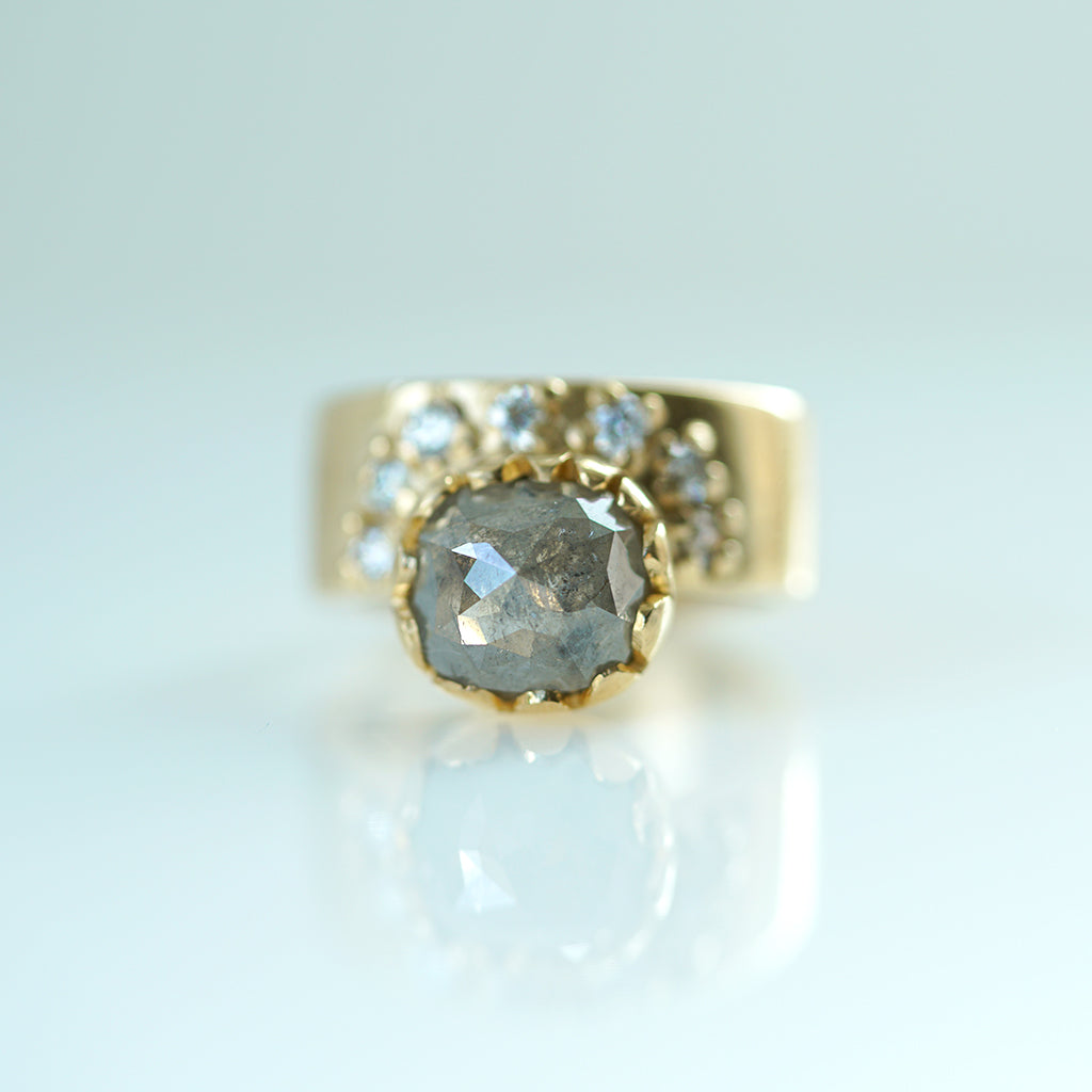 Salt and Pepper Diamond Gold Band with diamond Starburst
