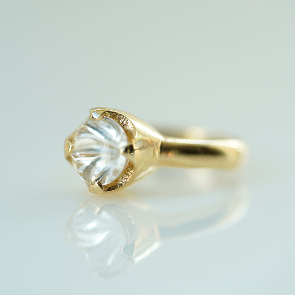 White Topaz Vortex solitaire gold ring