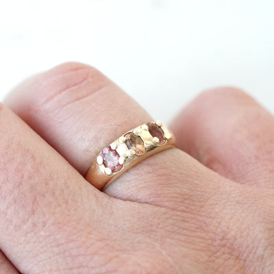 3 Tourmalines Gold ring