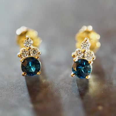 London Blue topaz earrings with white diamonds