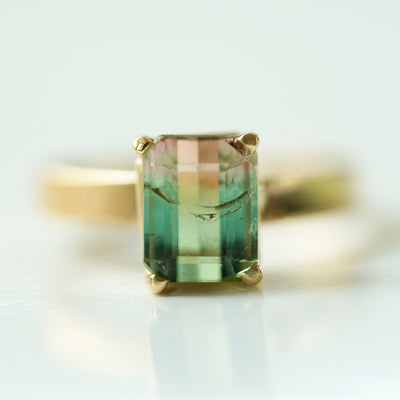 Bicolor Tourmaline Solitaire Ring