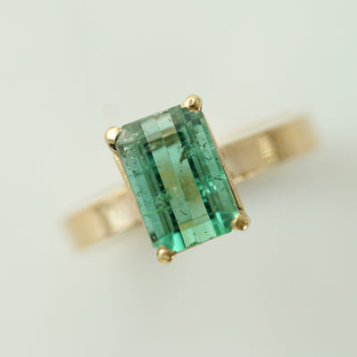 Green Tourmaline Solitaire Ring