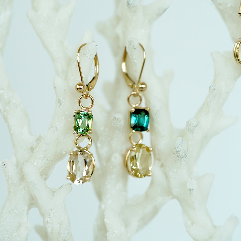 Green Tourmaline and Beryl gold earrings