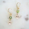 Tourmaline Morganite gold earrings