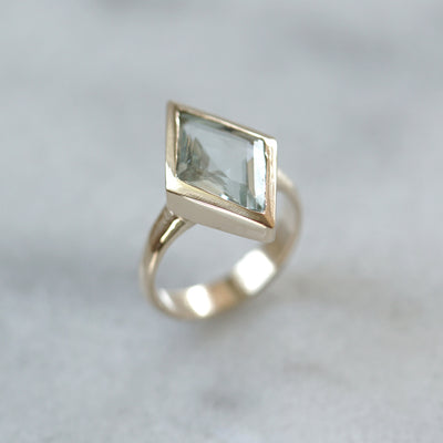 Geometric Aquamarine Ring