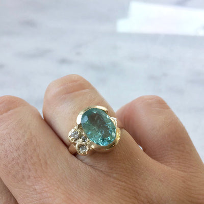 Light Blue Tourmaline Ring with diamonds