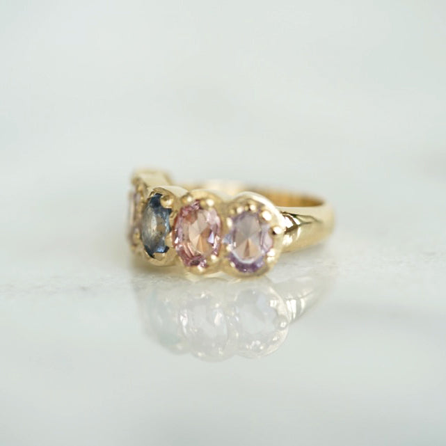 Multi color Rose cut sapphires gold ring