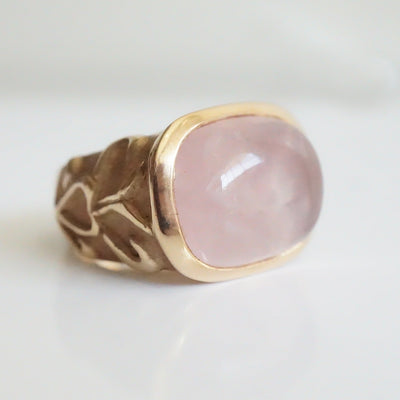Rose Quartz Deco Rose gold ring