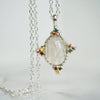 Rutilated Quartz with multicolor sapphires Silver necklace
