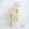 Triple Beryl gold earrings