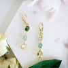 Triple Tourmaline Beryl gold earrings