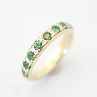 Tsavorite and Diamond gold band