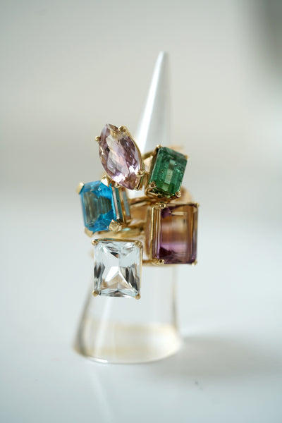 White Topaz Emerald cut ring