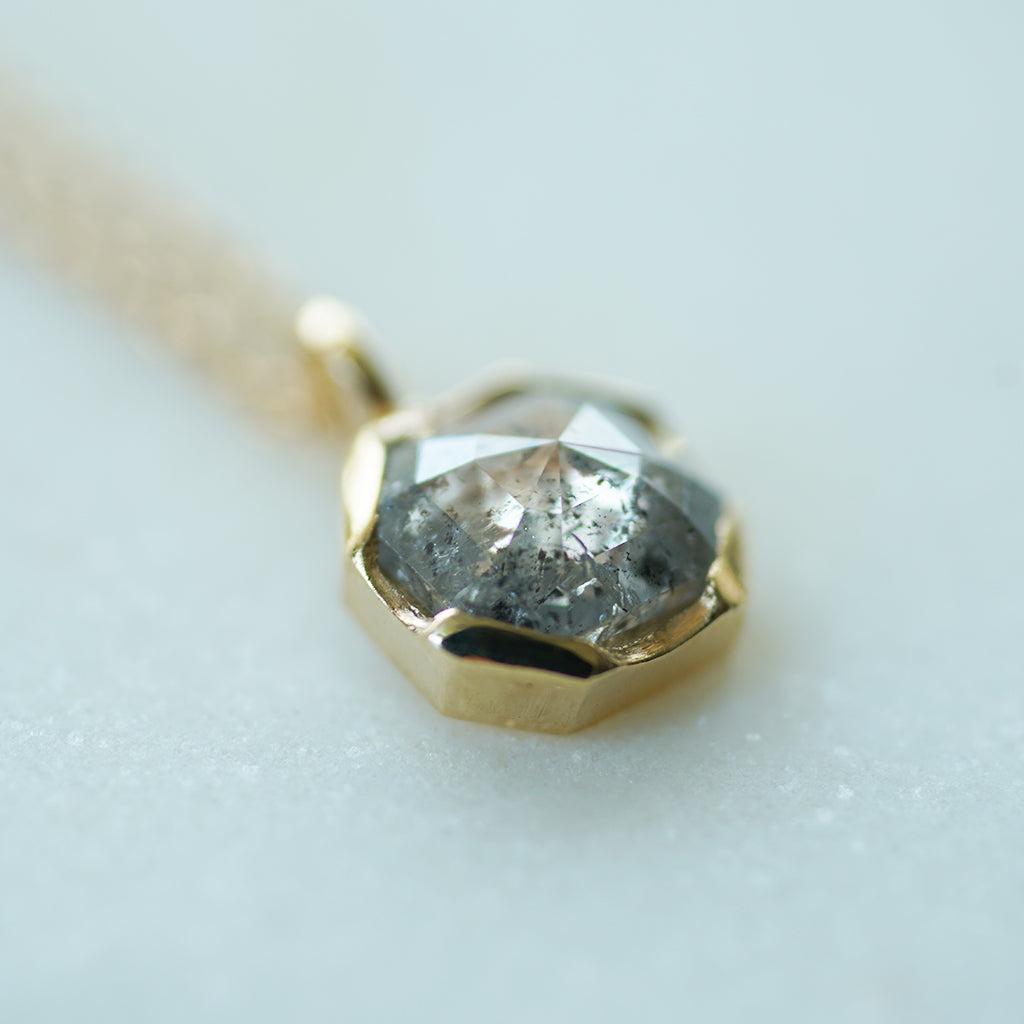 Salt and Pepper square diamond necklace in gold