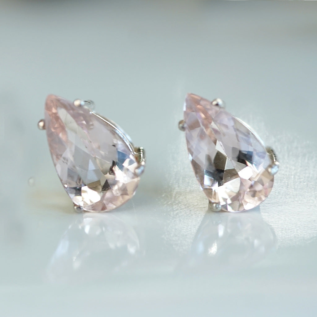 Morganite Pear Shaped silver earrings