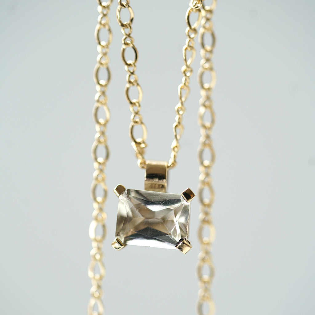 White beryl gold necklace