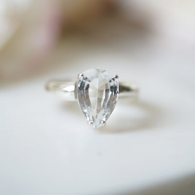 Pear shaped white topaz ring