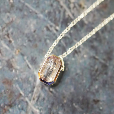 Rutilated quartz kunzite necklace
