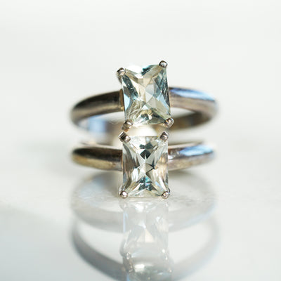 Double green amethyst ring