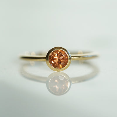 Thin cognac pink tourmaline ring