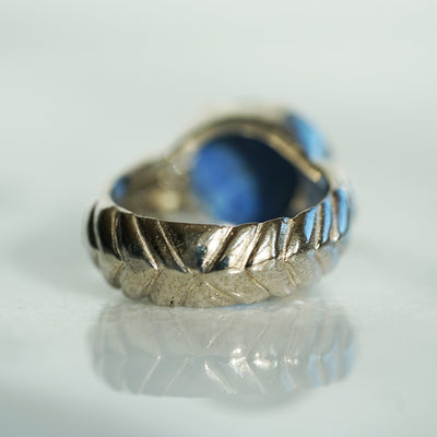 Doublet lapis lazuli silver ring II
