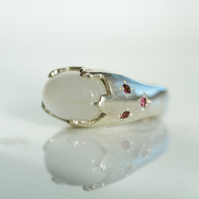 Rainbow moonstone castle ring with tourmalines