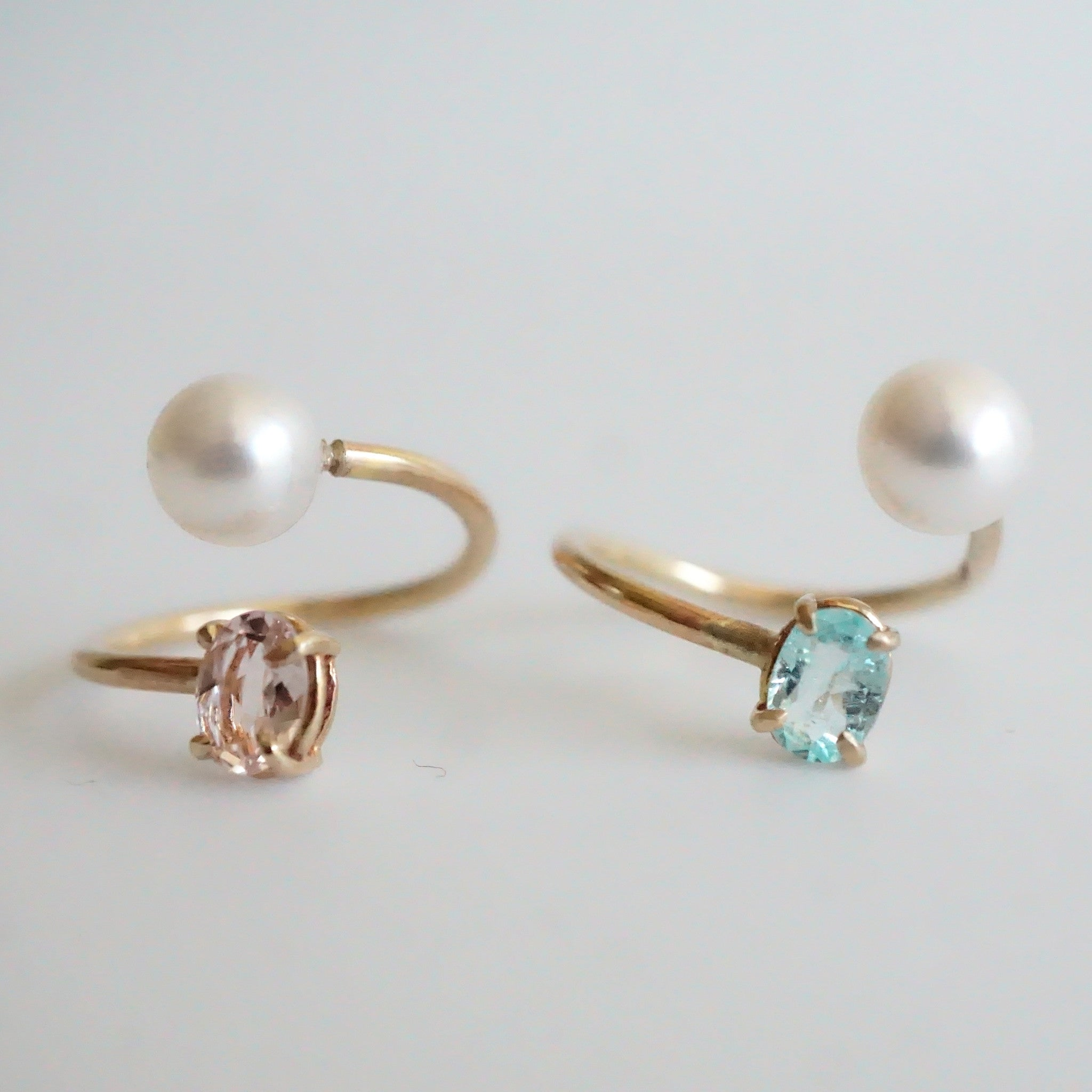 Lines Ring With Pearl And Morganite