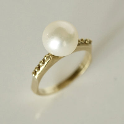 Simple Romanesque Pearl RIng