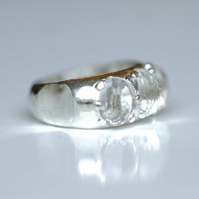 White Quartz Rose Cut Ring