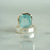 Rose cut aquamarine ring in silver cushion