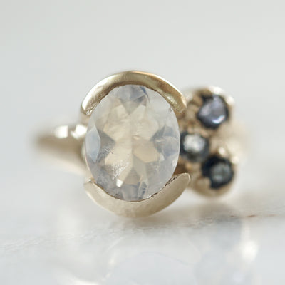 Rainbow Moonstone Ring with blue sapphires